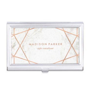 Modern Faux Rose Gold Geometric on White Marble Case For Business Cards
