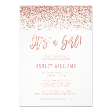 Modern Faux Rose Gold Glitter Girl Baby Shower Invitation