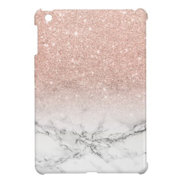 Modern faux rose pink glitter ombre white marble iPad mini case