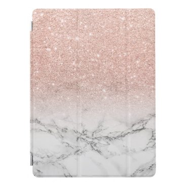 Modern faux rose pink glitter ombre white marble iPad pro cover