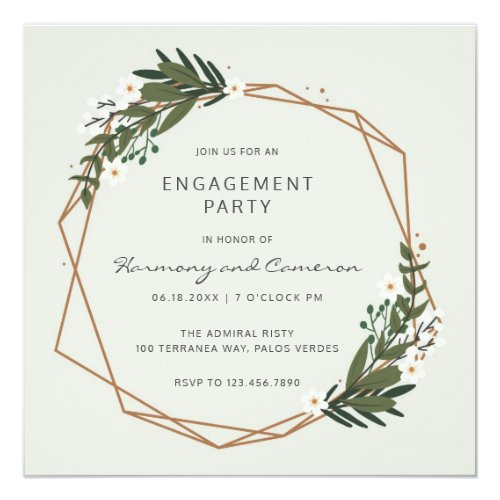 Modern Geometric Greenery Engagement Party Invitation