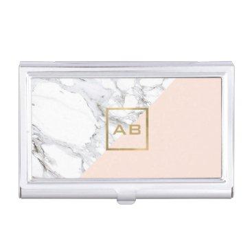 Modern Geometric Marble/Pink Monogram Logo Business Card Case