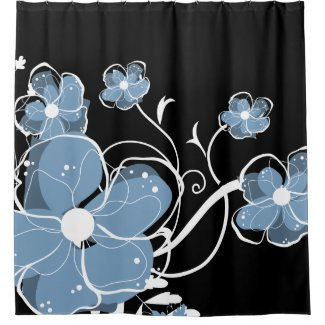 Modern Girly Blue and White Flowers Shower Curtain