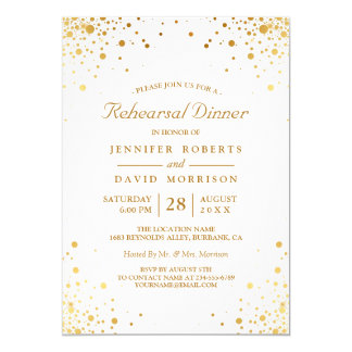 Modern Gold Confetti Dots Wedding Rehearsal Dinner Card