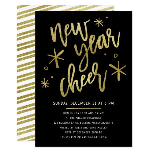 Modern Gold Foil New Years Eve Party Invitation