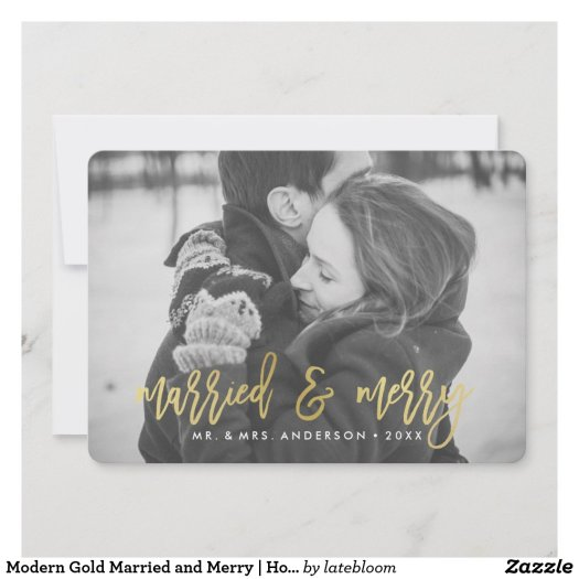 Modern Gold Married and Merry | Holiday Photo Card
