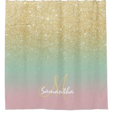Modern gold ombre mint pink block monogram shower curtain