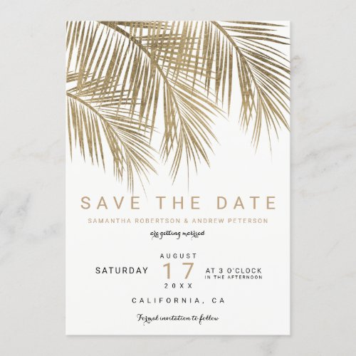 Modern gold palm tree elegant save the date