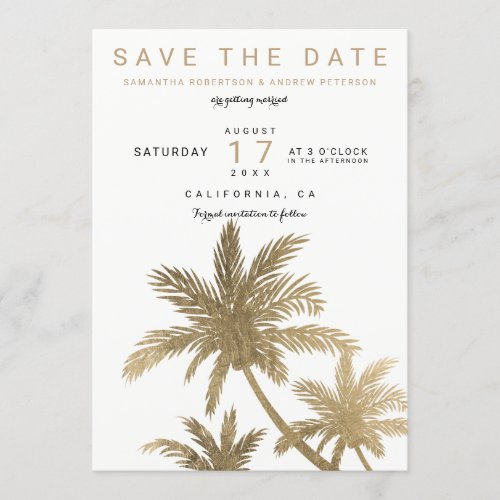 Modern gold palm trees elegant save the date