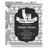 Modern Gray & White Aztec Llamas Baby Shower Card