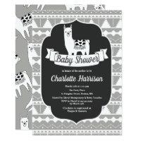 Modern Gray & White Aztec Llamas Baby Shower Card