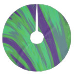 Modern Green Blue Color Swish Brushed Polyester Tree Skirt