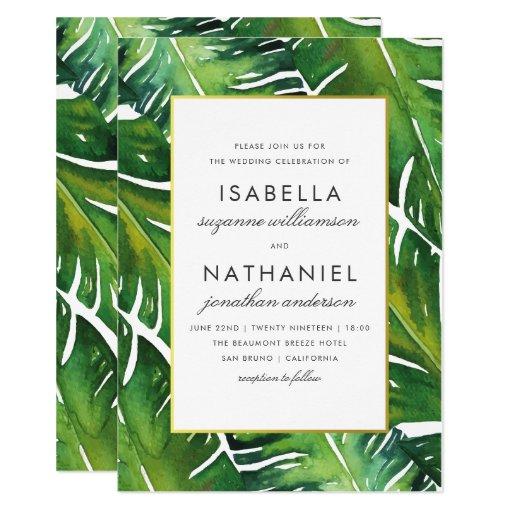 Modern Green Tropical Leaves Wedding Card