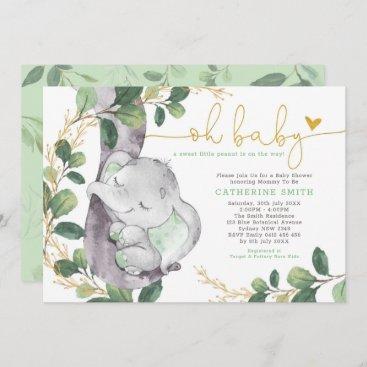 Modern Greenery Elephant Green Gold Baby Shower Invitation