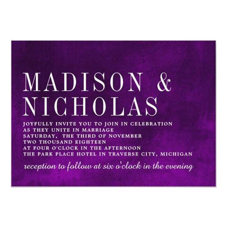 Modern Hues Watercolor Purple Typography Wedding Card