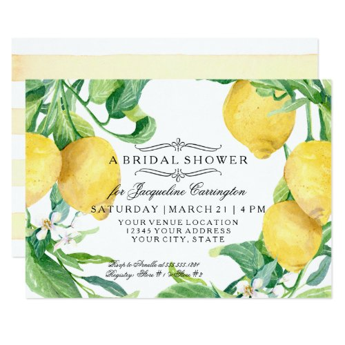 Modern Lemon Floral Flower Blossom Bridal Shower Card