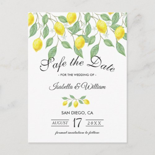 Modern Lemon Summer Save the Date Wedding Announcement Postcard