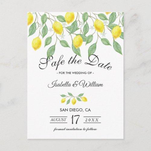 Modern Lemon Summer Save the Date Wedding Announcement Postcard