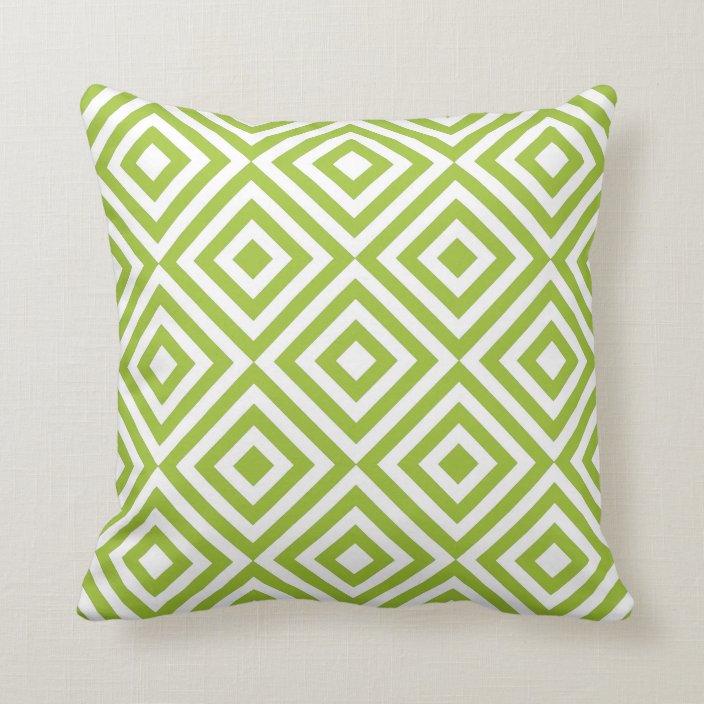 modern lime green geometric squares pattern throw pillow zazzle com