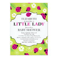 Modern Little Lady Pink Ladybug Baby Shower Card