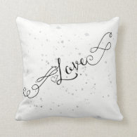 Modern Love and Splatters Ink Calligraphy Throw Pillow