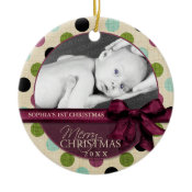 Modern Merry Christmas Polka Dots Ornament ornament
