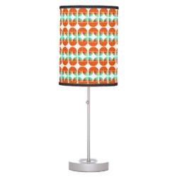 Modern Mid Century Style Fresh Orange Teal Print Table Lamp