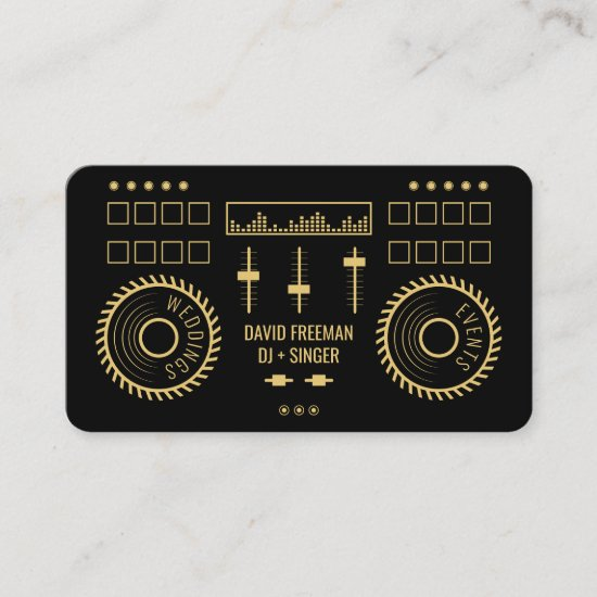 Modern minimal black and gold dj music turntable business card