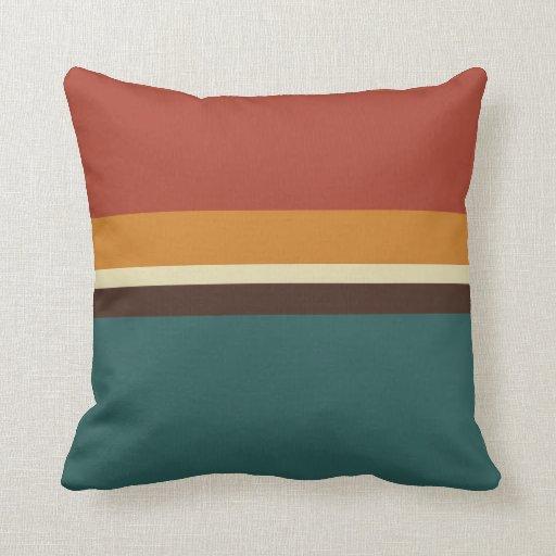 Modern Minimalist Autumn Colorblock Stripe Throw Pillow
