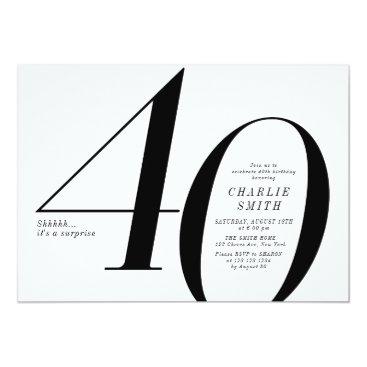 Modern minimalist black and white 40th birthday invitation