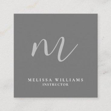 Modern Minimalist Monogram Clean Grey Luxury Square Business Card