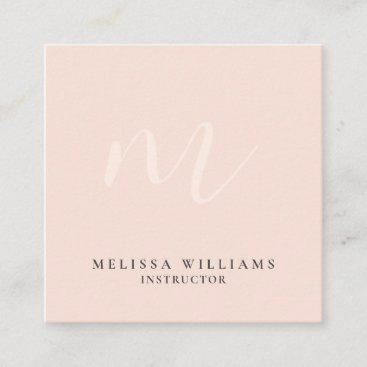 Modern Minimalist Monogram Pastel Blush Luxe Square Business Card