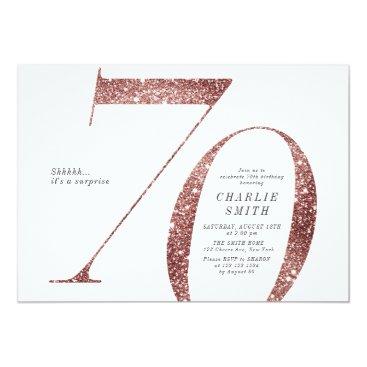 Modern minimalist rose gold glitter 70th birthday invitation