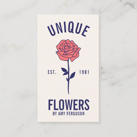 Modern minimalist trendy blue pink rose flower business card