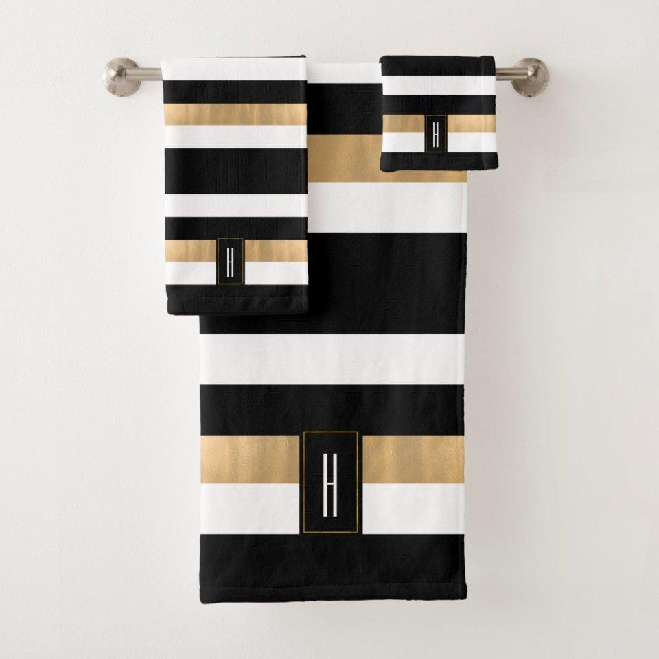 Personalized Modern Monogrammed Striped Bath Towel Gift Set