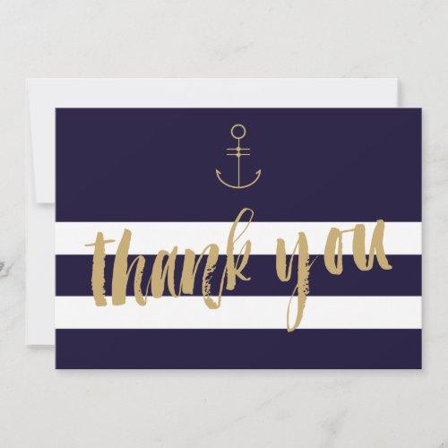 Modern nautical stripes wedding thank you