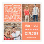 Modern Nectarine Orange Save the Date Photo Cards