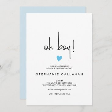 Modern oh boy baby shower invitation | Blue heart