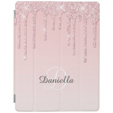Modern Personalized Blush Pink Sparkle Glitter iPad Smart Cover