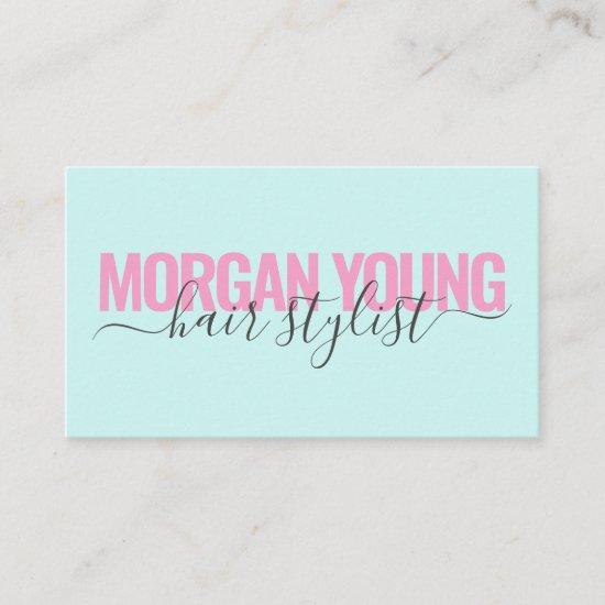 Modern pink blue hair stylist script signature business card