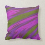 Modern Purple and Green Color Abstract Design Throw Pillow