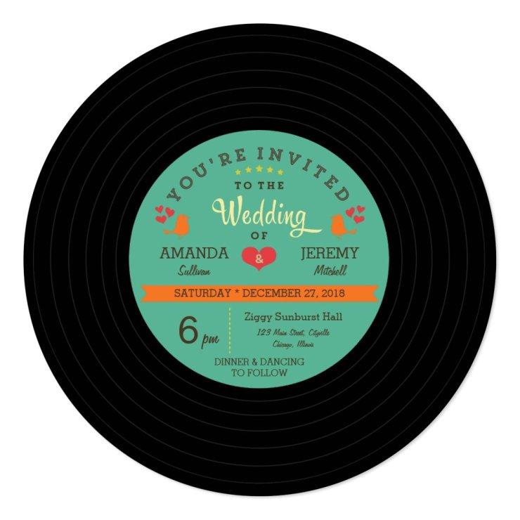 Modern Retro Vinyl Record Wedding Card