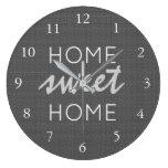 Modern rustic dark gray burlap Home sweet home Large Clock