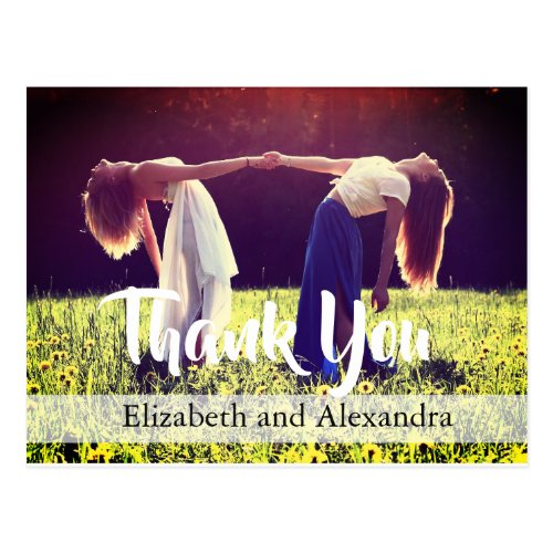 Modern Rustic Photo  Wedding Thank You Postcard