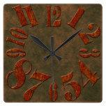 Modern Rustic Rusty Metal Large Numbers Square Wall Clock