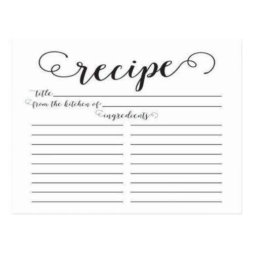 Modern Script Bridal Shower Recipe Cards