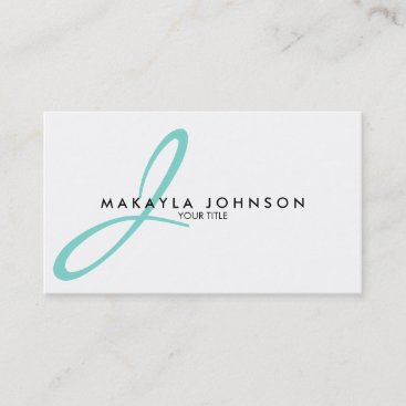 Modern & Simple aqua blue Monogram Professional Business Card