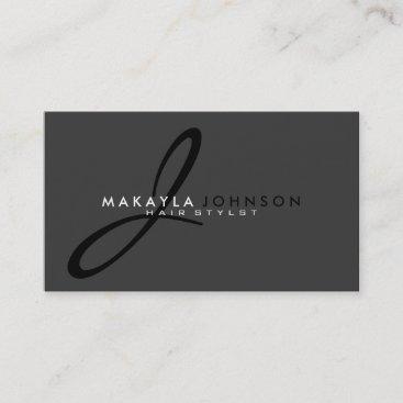 Modern & Simple black & grey Monogram Professional Business Card