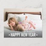 Modern Simple Star Script Happy New Year Photo Holiday Postcard