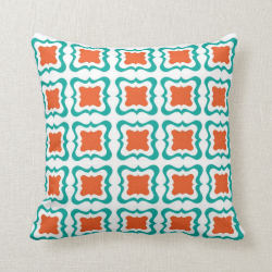 Modern Square Repeat Pattern Teal Orange White Throw Pillow